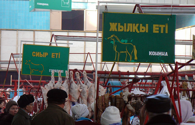 Horsemeat section, Green Bazaar, Almaty (flickr/sly06)